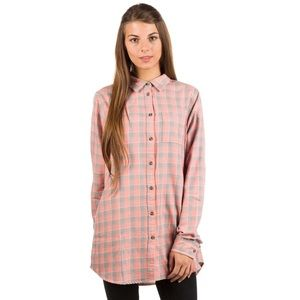 FJALLRAVEN pink and grey plaid flannel shirt